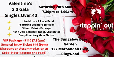 Valentine's 2.0 Gala - Singles over 40  Melbourne (VIP package ticket) tickets