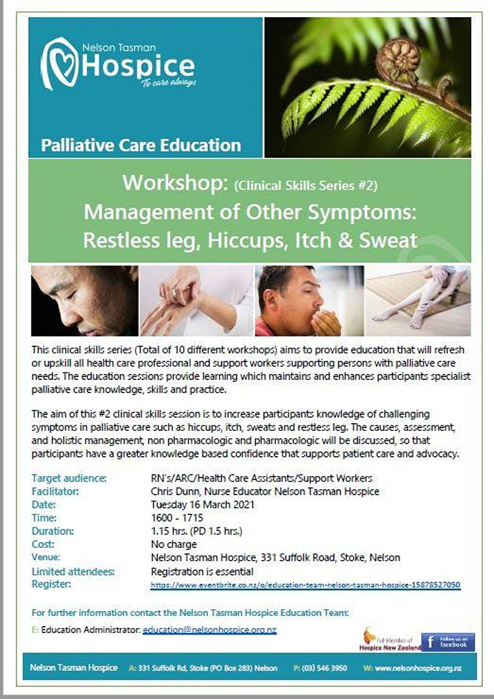Management of other symptoms:  (Clinical Skills Series 1.5hrs.) image
