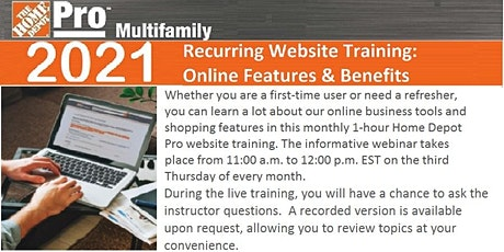Home Depot Pro MultiFamily Website Training tickets