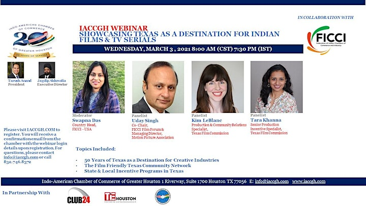 IACCGH webinar Showcasing Texas as a destination for Indian Films & Serials image