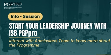ISB PGPpro Executive MBA: Q&A with Admissions Team   3March2021 tickets