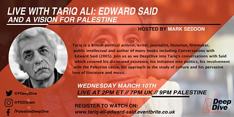 Live with Tariq Ali: Edward Said and a Vision for Palestine tickets