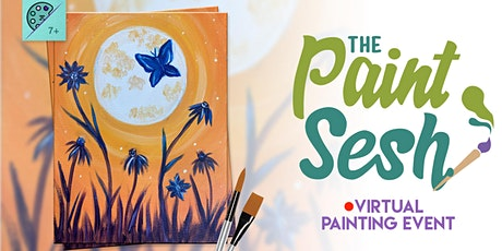 "Virtual Paint Night at Home: ""Moonlit Butterfly"" - (Online Painting Class) tickets"