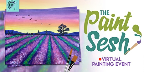 """Virtual Painting at Home: """"Lavender Fields"""" - (Online Painting Class) tickets"""