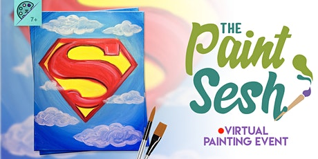 """Virtual Painting at Home: """"Super Hero"""" - (Online Painting Class) tickets"""