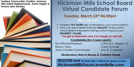 Hickman Mills School Board Candidate Forum-South Kansas City, March 23rd @6 tickets