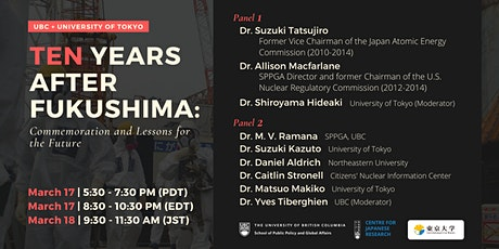 Ten Years after Fukushima: Commemoration and Lessons for the Future tickets
