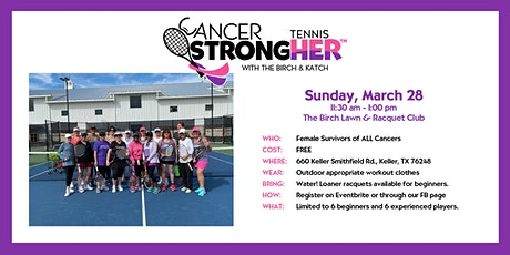 Cancer StrongHER Tennis - Free March 28, 2021 Class tickets