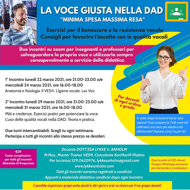 Immagine LA VOCE GIUSTA NELLA DAD - CORSO DI BENESSERE VOCALE PER INSEGNANTI