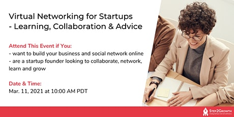 Virtual Networking for Startups - Learning, Collaboration & Advice tickets