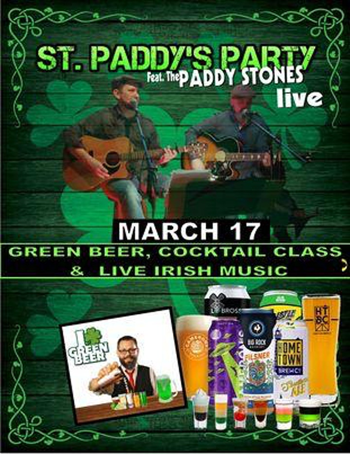 St Paddy's Day Virtual Party! Cocktail Class, Green Beer & Live Irish Music image