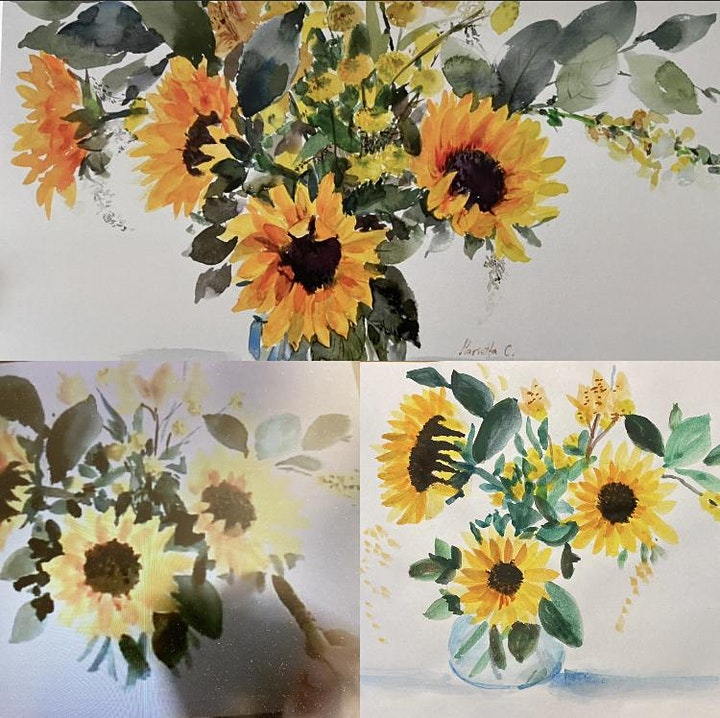 Sunflowers- watercolor painting workshops image