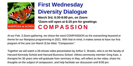 Mariposa's First Wednesday Diversity Dialogue for March 3, 2021 - Zoom tickets