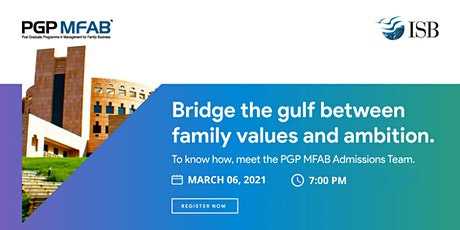 ISB (PGP MFAB) Family Business Digital Infosession | Metro's tickets
