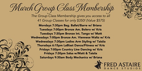 MARCH Monthly Group Class Membership tickets