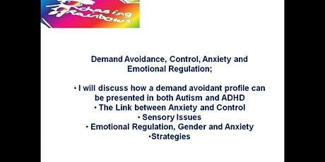 Demand Avoidance, Control, Anxiety and Emotional Regulation tickets