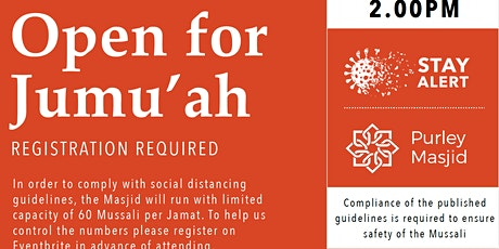Purley Masjid Jumu'ah - 4th Salah - 2.00pm - 5-Mar-21 tickets