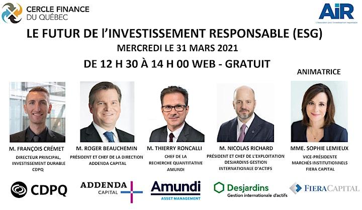 Image de LE FUTUR DE L'INVESTISSEMENT RESPONSABLE (ESG) 12 H 30 A 14 H 00