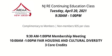 NJ RE Continuing Education Class-Fair Housing and Cultural Diversity tickets