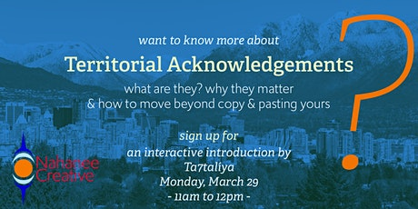 Territorial Acknowledgements, an interactive introduction tickets