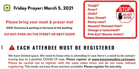 *1.35 pm* KMA Friday Prayer (Mar. 5) led by Sh. Hesham Alaghbari tickets