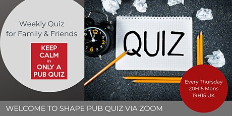 PUB QUIZ via Zoom tickets