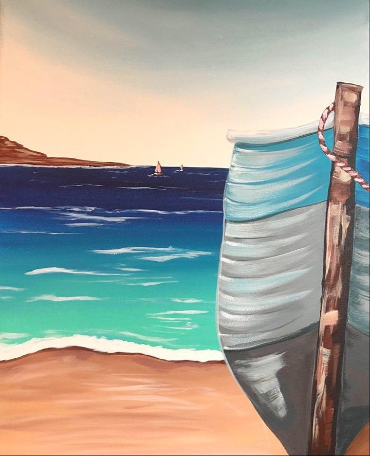 Paint Night in Rockland - Boat on the beach at G.A.B.'s image