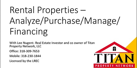Rental Properties – Analyze/Purchase/Manage/Financing tickets