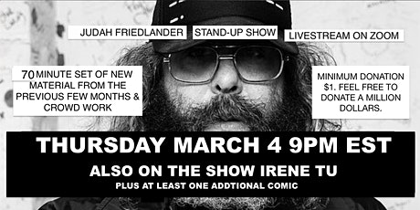 Judah Friedlander Thursday March 4   9pm EST Livestream Stand-up show tickets