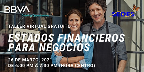 Estados Financieros De Negocios  - Taller Virtual GRATIS tickets