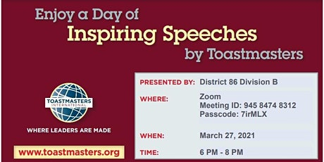District 86 Division B International Speech Contest tickets