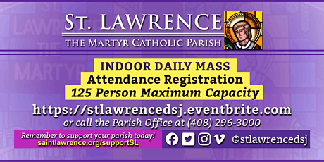 MONDAY, March 1, 2021 @ 8:30 AM DAILY Mass Registration tickets