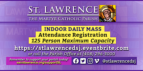WEDNESDAY, March 3, 2021 @ 8:30 AM DAILY Mass Registration tickets