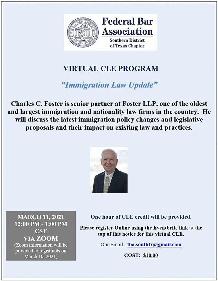 Mar 11, 2021 Virtual CLE - Immigration Law Update by Charles C. Foster image