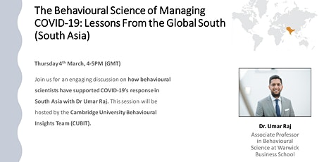 Behavioural Insights &  COVID-19: Lessons From Global South: Asia Focus tickets