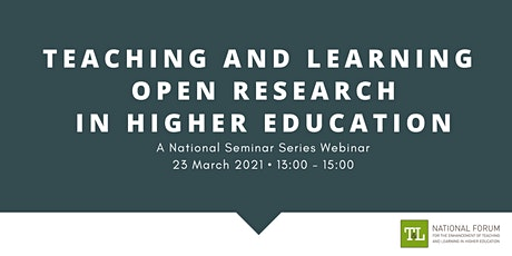 Teaching and Learning Open Research in Higher Education tickets