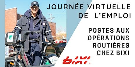 Journée virtuelle de l'emploi pour des postes aux opérations routières BIXI billets
