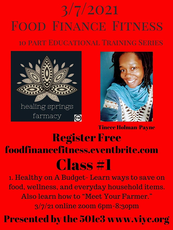 Food, Finance, and Fitness Educational Series (Urban Farmer Edition) image