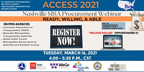 USDOT MSA ACCESS 2021 Nashville MSA Procurement Webinar tickets