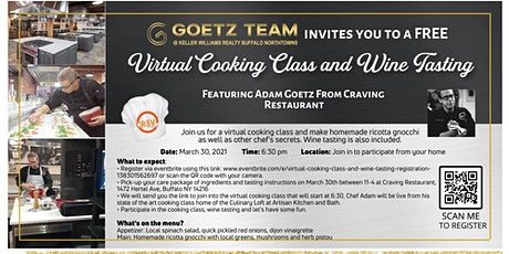 Virtual Cooking Class and Wine Tasting tickets