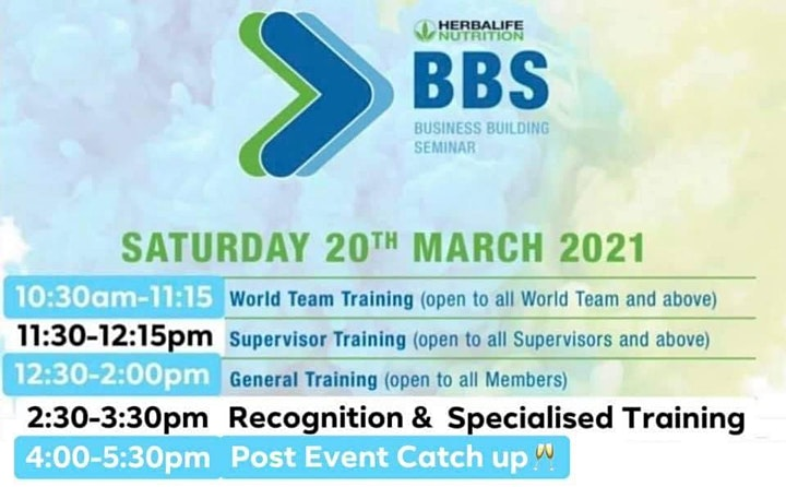 Herbalife BBS Saturday 20th March image