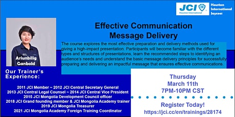 JCI Effective Communication Series Part III: Message Delivery Exclusive JCI tickets