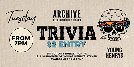 Tuesday Trivia at Archive Beer Boutique tickets