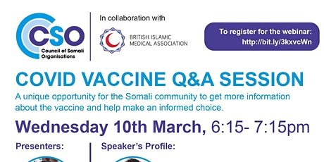 UK Somali Community: COVID VACCINE Q&A SESSION tickets