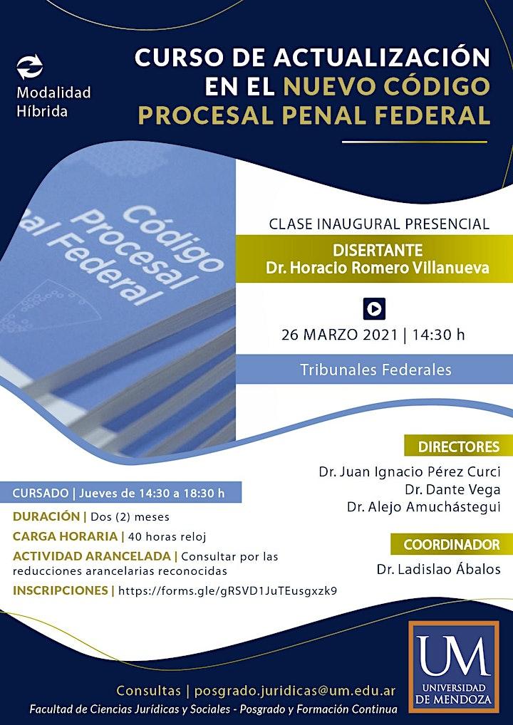 Imagen de CURSO DE ACTUALIZACIÓN EN EL NUEVO CÓDIGO PROCESAL PENAL FEDERAL