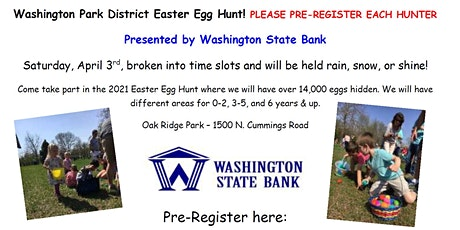 Washington Park District Easter Egg Hunt 0-2 years of age tickets