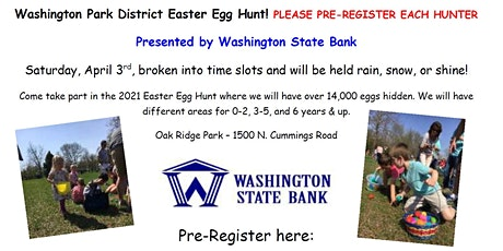 Washington Park District Easter Egg Hunts 3-5 years of age tickets