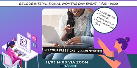 International women's day BeCode contest details and demo + infosession tickets