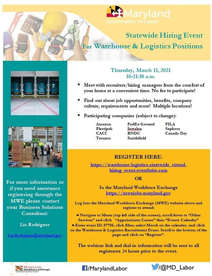 Warehouse & Logistics Statewide Virtual Hiring Event! image