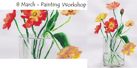 8 March - painting Flowers in a transparent Vase – workshop for Beginners tickets
